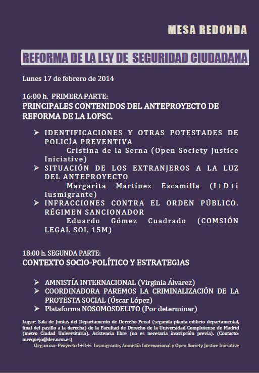 Mesa redonda UCM: La reforma de la Ley de Seguridad Ciudadana