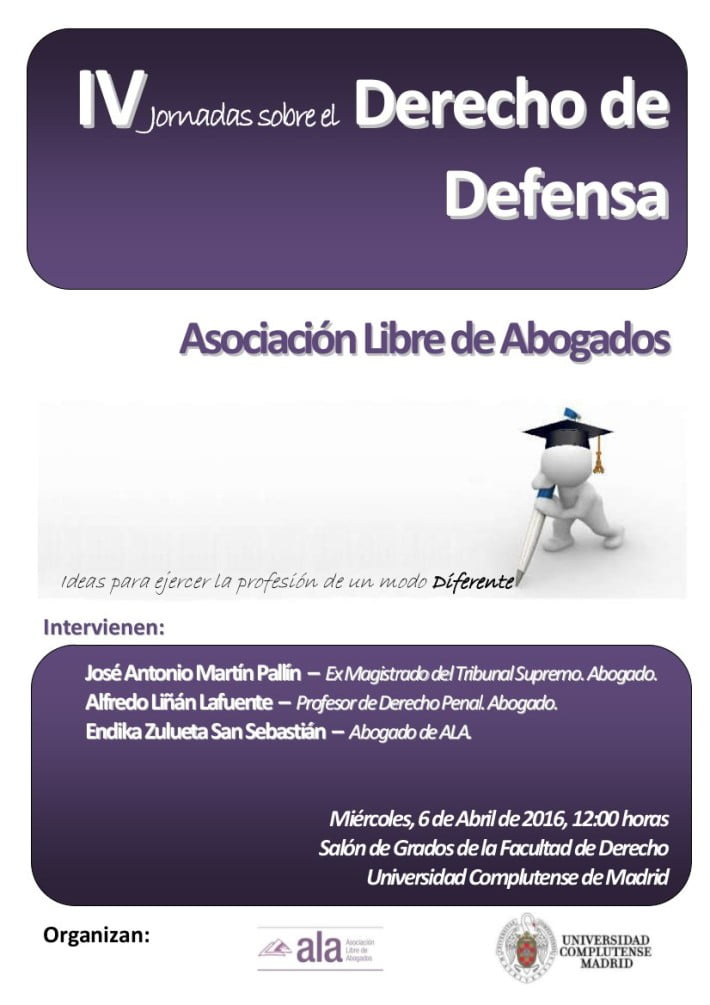 6 de abril: IV Jornadas sobre el Derecho de Defensa