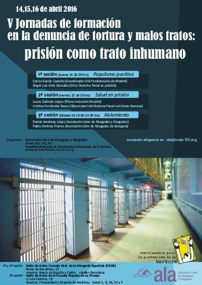 14 a 16 de abril: Vª Jornadas  de Formación en la denuncia de la tortura y malos tratos