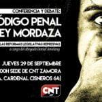 29 de septiembre: Charla sobre el Código Penal y la Ley Mordaza en Zamora