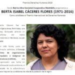 Red Jurídica nomina a Berta Cáceres para recibir de forma póstuma el Premio Internacional de Derechos Humanos de la APDHE