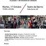 17 de octubre: Acto sobre las Violaciones de Derechos Civiles y Políticos el pasado 1 de octubre en Catalunya
