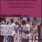 """21 de noviembre: Taller: """"Defensa frente a detenciones y multas para manteros y vendedores callejeros"""""""
