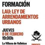 8 de febrero: Taller de formación en la LAU (Ley de Arrendamientos Urbanos)
