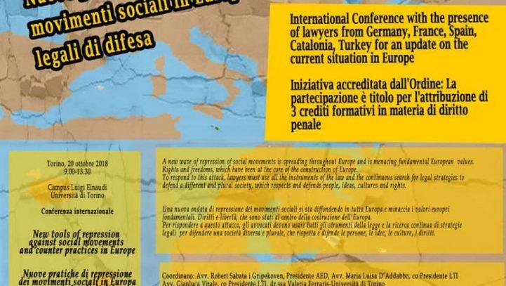 "20 de octubre: Conferencia ""New Tools of repression against social movements and counter practices in Europe"" en Turín (Italia)"