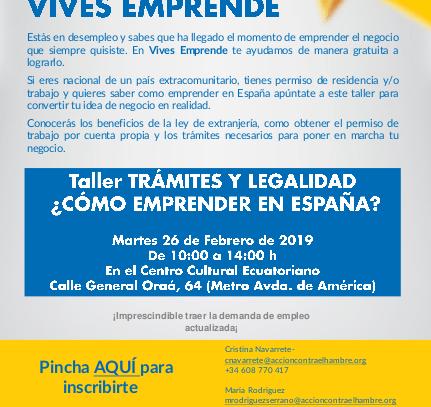 26 de febrero: Taller «Trámites y legalidad. ¿Cómo emprender en España?»