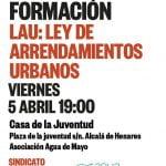 5 de abril: Taller de Formación en la LAU (Ley de Arrendamientos Urbanos) en Alcalá de Henares