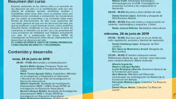 """26 de junio: Curso de verano de la UNED: """"Los discursos del odio: racismo y otras formas de discriminación"""""""