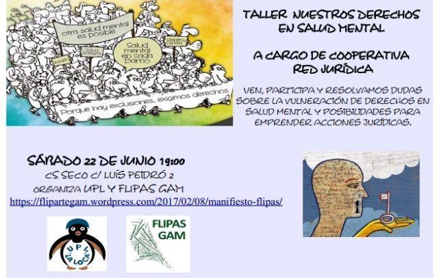 """22 de junio: Taller de """"DERECHOS Y SALUD MENTAL"""""""