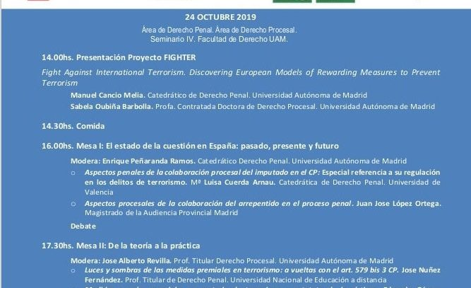 """24 de octubre: Ponencia """"Medidas penales premiales en materia de terrorismo y estatuto de la víctima"""" (UAM)"""