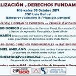 30 de octubre: Jornada sobre criminalización y derechos fundamentales (Zaragoza)
