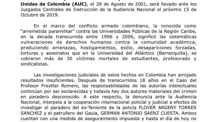 15 de octubre: Rueda de prensa por la interposición de querella por el caso Jorge Freytter