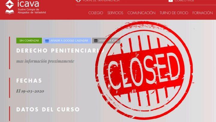19 de marzo: SUSPENDIDO el Curso de Derecho Penitenciario en el Colegio de Abogados de Valladolid