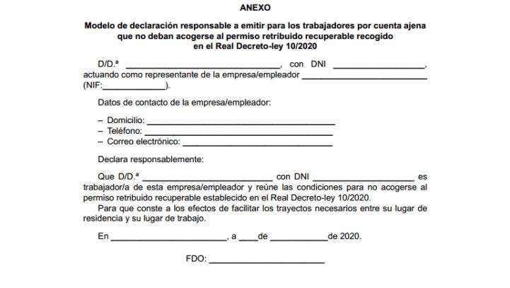 DUDAS CORONAVIRUS – Certificado para trabajadores que deban desplazarse a su puesto de trabajo (30 marzo – 9 de abril)