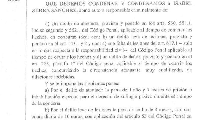 El TSJM condena a la diputada autonómica Isabel Serra. Una degradación de la presunción de inocencia