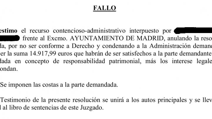 El Ayuntamiento de Madrid, condenado a pagar 14.900 euros por una agresión de un 'antidisturbio' sin identificación