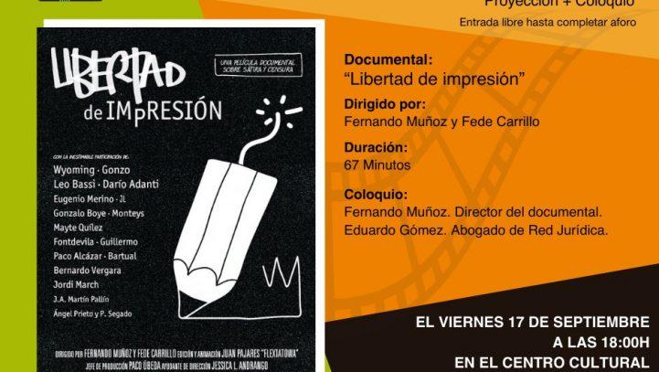 """17 de septiembre: Proyección de la película """"Libertad de impresión"""" + coloquio"""