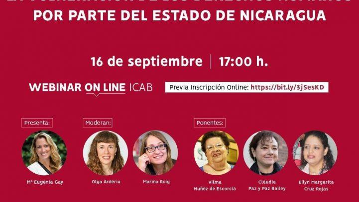 """16 de septiembre: Webinar sobre """"La vulneración de los Derechos Humanos por parte del Estado de Nicaragua"""""""