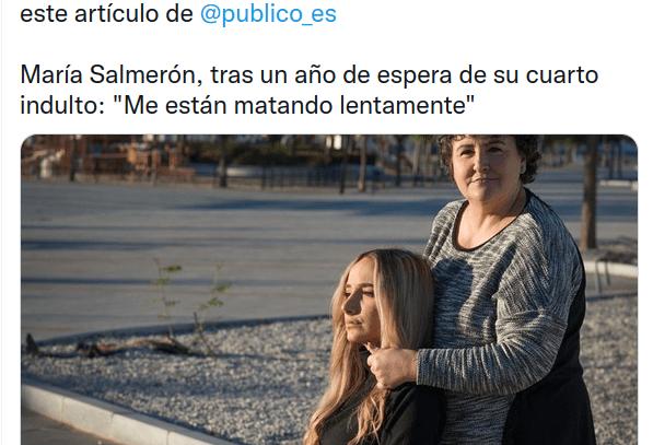 """María Salmerón, tras un año de espera de su cuarto indulto: """"Me están matando lentamente"""""""